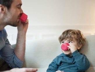 with your child drinking tea